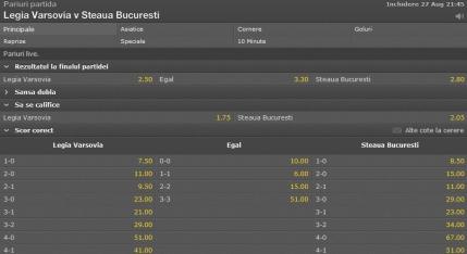 Cote pariuri Legia - Steaua
