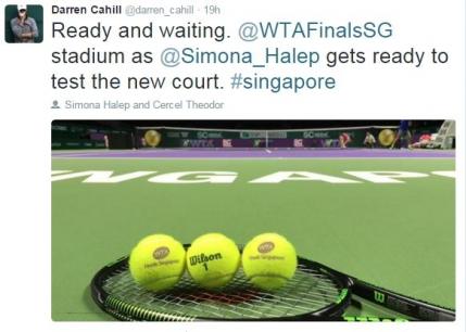 Simona Halep se pregateste cu Darren Cahill la Singapore