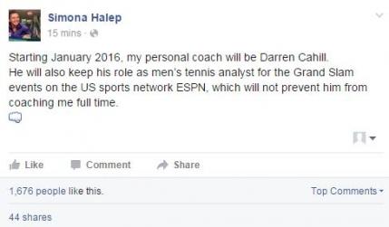 Oficial: Simona Halep va lucra cu Darren Cahill in 2016