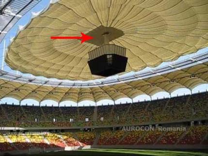 Arena Nationala are un acoperis facut din doua materiale. Pomperii aveau dreptate, este inflamabil: Tabela este o bomba de foc (a fost pacaleala de 1 Aprilie)
