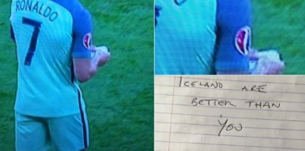 Ronaldo a primit un bilet misterios in meciul cu Ungaria