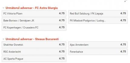 Tragere la sorti Liga Campionilor si Liga Europa. Poti paria aici cu cine vor cadea Steaua, Astra, Viitorul, Pandurii si Iasi